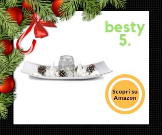 Centrotavola natalizio in legno, con vaso portacandela ed accessori vari
