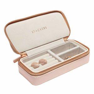 Bianco Lrikas Piccolo Portagioie da Viaggio Portagioie Donna Scatola di Gioielli Organizzatore di Gioielli Jewelry Box 16,5 x 11,5 x 5,5 cm